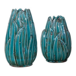 Uttermost - Uttermost Darniel Ceramic Vases in Distressed Teal Blue Ceramic - Ornate ceramic vases feature a distressed, crackled teal blue finish with antique khaki undertones. Sizes: Small-8 x 12 x 6, Large-8 x 15 x 6