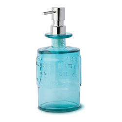 WS Bath Collections - Saon 44012 Colored Glass Soap Dispenser, Blue - Saon by WS Bath Collections, Soap Dispenser in Colored Glass with Chrome Pump, Available in Orange, Pink or Blue