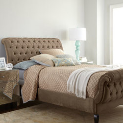 """Haute House - Haute House Taupe Tufted Bed - Tufting moves into the bedroom and redefines the lines of a traditional sleigh bed. By Haute House™. Alder wood frame. Velvet upholstery. Queen bed, 65""""W x 110""""L x 55""""T. Boxed weight, approximately 289 lbs. King bed, 81""""W x 110""""L x 55""""T. Boxe..."""