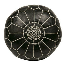 """Pre-owned Embroidered Leather Pouf in White on Black - Authentic Moroccan hand-made leather hassock commonly known as Poof is made out of genuine soft leather. The poof is so practical it can be used as a foot stool, as a low seat next to your coffee table or in your children room. This pouf is pre-stuffed with cotton batting. This provides comfort and durability for the poofs. ‰Ű˘ Zippered bottom opening for easy stuffing. Measurement: Diameter: 20"""" Height: 12"""""""