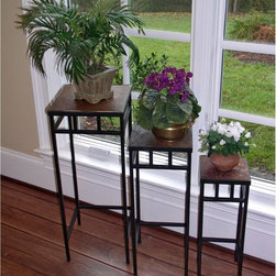 4D Concepts 3 Piece Slate Square Plant Stands With Slate Tops - 4D Concepts 3 Piece Slate Square Plant Stands With Slate Tops