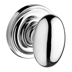 Baldwin Hardware - Reserve Ellipse Passage Knob with Traditional Round Rose in Polished Chrome - Since 1946, Baldwin Hardware has delivered modern luxury to discriminating homeowners, architects and designers through superior design, craftsmanship and functionality.