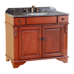 """Bosconi - 39"""" T-3626 Classic Single Vanity - Antique Red - This Bosconi Classic model has ornate designs on the sides as well as beautifully crafted Antique Brass hardware. Combined with its Antique Red finish, this is a great piece to add to any bathroom decor, and enjoy the added storage space provided by two drawers and a large two-door cabinet. Dark Emperador Marble countertop and matching backsplash will certainly enhance the Classic decor of any space."""