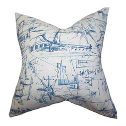 The Pillow Collection - Hobson Coastal Pillow Blue - Crisp and clean, this is what makes this accent pillow unique. Embellished with a blue nautical-inspired print against a white background, this square pillow adds a playful vibe to your interiors. Perfect for your living room, bedroom or guest room, this 100% cotton-made decor pillow adds comfort and style. Hidden zipper closure for easy cover removal.  Knife edge finish on all four sides.  Reversible pillow with the same fabric on the back side.  Spot cleaning suggested.