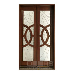 Modern Collection (Custom Solid Wood Doors) - Doors For Builders Inc. DB-885 CST Custom Solid Wood Entry Door.  Mahogany Wood with Dark Mahogany Finish.  Privacy Leaded Glass.