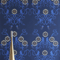 Captain Smith Hand-Printed Wallpaper, Promenade - This rich blue wallpaper will make you dream of the ocean.