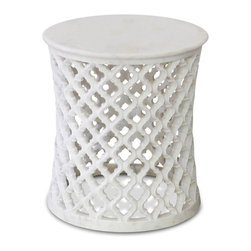 Kathy Kuo Home - Mamounia Global Bazaar White Marble Fret Work Round Side Table - This intricately hand-carved, white marble side table evokes traditional Moorish and Indian motifs with curvaceous patterns and fret work. From the deserts of India, the white marble is exquisitely polished for luxurious luster. The smaller proportions of the end table make it the perfect place to showcase more petite pieces that deserve a place of honor.