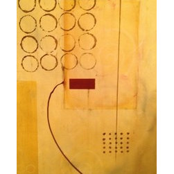 Silence (Original) by Heather Gottfried - This neutral piece of yellow ocher, browns and pop of deep red was inspired by a dot game I saw a child playing on a train to keep himself quiet.  One of the games was a 'connect four' type of game, and the other was to create shapes in the dots using only straight lines.  I incorporated images of swirls by removing a small amount of paint.  This gives the piece extra whimsy!