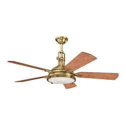 """Kichler - Kichler 300018BAB Burnished Antique Brass Hatteras Bay 56"""" Indoor - Included Components:  3-Speed indoor ceiling fan 5 Wooden fan blades 4-Bulb light kit Portable Cool-Touch remote control with wall mounting kit 12"""" Down rod  Fan Features:  Fan is fully covered under Kichler s limited lifetime warranty Fan housing features all-metal construction Sturdy solid wood blades provide a lifetime of beauty Blades are reversible - giving maximum aesthetic versatility Hanging canopy style - compatible with downrods ranging from 6"""" - 72"""" (12"""" downrod included) 3 Speed options - operates in both forward and reverse Portable control panel for on/off and speed adjustment (comes with wall docking) Included 4-bulb light kit - makes for an all-in-one installation package 78"""" Lead wire included Secure mounting assembly enhances fan s safety  Fan Specifications:  Motor Size: 188mm x 25mm Fan Speeds: 3 Height: 22.5"""" (measured from ceiling to bottom most point on fan fixture) Blade Sweep: 56"""" (total fixture width) Blade Pitch: 14-degrees Location Rating: Dry / Inside Airflow on High: 5515 CFM (cubic feet per minute) Watts on High: 160 (excludes light wattage) Voltage: 120 V Light Direction: Down Lighting Bulb Type: Halogen  Bulb Compatibility and Base:  Bulb Base - Bi Pin : The bi pin, or  bipin socket , is a standard from the IEC (International Electrotechnical Commission) for lamp fittings. These are used on many small incandescent light bulbs.  About Kichler Kichler has been an industry leader in the lighting industry for nearly a century. They believe that products you choose for your home should no"""