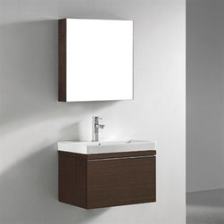 """Madeli - Madeli Venasca 24"""" Bathroom Vanity with Integrated Basin - Walnut - Madeli brings together a team with 25 years of combined experience, the newest production technologies, and reliable availability of it's products. Featuring sleek sophisticated lines Madeli vanities are also created with contemporary finishes and materials. Some vanities also feature Blum soft-close hardware. Madeli also includes a Limited 1 Year Warranty on Glass Vessels, Basin, and Counter Tops. Sleek, modern and sophisticated, the Venasca Collection features a wall hung cabinet in a rich Walnut finish accented with decorative, polished chrome handles. A slight pull on the full length handles reveals spacious, full-extension, storage drawers with Blum soft-closing hardware. Add to this a luxurious polyurethane-protected finish and you end up with a stylish and functional piece worthy of being the centerpiece of your dream bathroom. Features Base vanity with Blum Soft Close hinge pull-out drawer, wall hung Walnut finish Polished Chrome finish handle White or Biscuit Porcelain Basin with overflow for a single-hole faucetFaucet and drain are not included Matching mirror and medicine cabinet available Limited 1 Year Warranty on Glass Vessels, Basin, and Counter Tops How to handle your counter Spec Sheet Installation Instructions"""