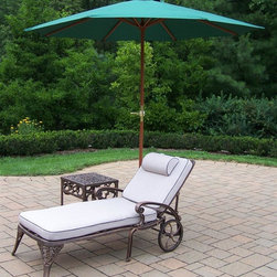 Oakland Living - 3-Pc Outdoor Upholstered Chaise Lounge Set - Includes chaise lounge with cushion, side table and 9 ft. umbrella with stand. Metal hardware. Lightweight. Fade, chip and crack resistant. Warranty: One year limited. Made from rust free cast aluminum. Antique bronze hardened powder coat finish. Minimal assembly required. End table: 17.5 in. W x 17.5 in. D x 19 in. H (15 lbs.). Chaise: 71 in. W x 25.5 in. D x 35 in. H (68 lbs.). Overall weight: 158 lbs.This Chaise lounger set will be a beautiful addition to your patio, balcony or outdoor entertainment area. Our Chaise lounger sets are perfect for any small space, or to accent a larger space. We recommend that the products be covered to protect them when not in use. To preserve the beauty and finish of the metal products, we recommend applying an epoxy clear coat once a year. However, because of the nature of iron it will eventually rust when exposed to the elements. The Oakland Elite Collection combines old world charm and modern designs giving you a rich addition to any outdoor setting. The traditional lattice pattern is crisp and stylish. Each piece is hand cast and finished for the highest quality possible.