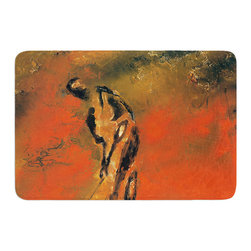 """KESS InHouse - Josh Serafin """"Chip"""" Golf Player Memory Foam Bath Mat (24"""" x 36"""") - These super absorbent bath mats will add comfort and style to your bathroom. These memory foam mats will feel like you are in a spa every time you step out of the shower. Available in two sizes, 17"""" x 24"""" and 24"""" x 36"""", with a .5"""" thickness and non skid backing, these will fit every style of bathroom. Add comfort like never before in front of your vanity, sink, bathtub, shower or even laundry room. Machine wash cold, gentle cycle, tumble dry low or lay flat to dry. Printed on single side."""