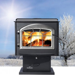Napoleon - Napoleon Small Wood Stove with Pedestal Multicolor - 1100P-H222 - Shop for Fire Places Wood Stoves and Hardware from Hayneedle.com! Whether you're looking forward to an intimate dinner for two or enjoying the warmth of a fire with your family the Napoleon Small Wood Stove with Pedestal is a gorgeous addition to your home. Beautifully crafted from strong and durable steel with an elegantly curved door this wood stove is both sophisticated and functional. Able to burn up to seven hours and heat up to 1600 square feet this gorgeous wood stove will keep you and your loved ones warm for hours. Its 1.7 cubic square foot firebox is able to hold logs up to 18-inches long. Airwash technology combined with the heat keeps the large viewing glass clean so you can enjoy watching your fire burn through the night. Its sturdy pedestal design is made to last and includes a black trivet black painted louvers and an ashtray. Aesthetic and practical you'll find yourself looking forward to cold days that are perfect for lighting and enjoying a fire all winter long. Additional Features Can heat 600-1600 square feet Approved for use in a mobile home Up to 55000 BTU's on high burn Firebox holds up to 1.7 cubic square feet Beautiful large viewing area Elegant arched cast iron door Easily adjustable heat with single lever burn control Rear shield with hot air circulation deflector Airwash technology and high heat cleans glass Includes an ash tray with lid Sturdy pedestal design Black trivet and black painted louvers Your choice of beautiful door designs EPA certified Use of a professional installer is recommended to ensure the safety of the exhaust system. About NapoleonNapoleon got its start in 1976 as a steel fabrication business launched by Wolfgang Schroeter in Barrie Ontario Canada. Solid cast iron two-door stoves were became a single glass door model with Pyroceram high-temperature ceramic glass. In 1981 the name Napoleon was coined for their items. Over the years Napoleon h
