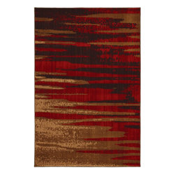 Mohawk Home - Mohawk Kaleidoscope Magma Red Contemporary Abtstract Stripes 8' x 11' Rug (58200 - Inspired by volcanic magma, this rug features an abstract design in hues of brown, red and beige. Unsurpassed in quality and style without sacrificing affordability, Mohawk Home