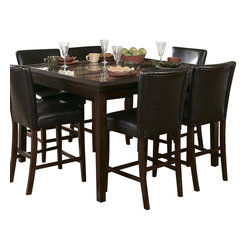Homelegance - Homelegance Belvedere 6 Piece Counter Height Dining Room Set - The beveled wood edge of these burnished espresso finished tables softens the transitional Belvedere collection. Inset display shelving and decorative faux marble inlay further compliment the design.