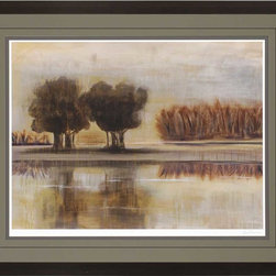 "Paragon Decor - Harmony II Artwork - Brighten up those boring walls with this colorful piece, ""Harmony II"" which depicts a beautiful image of golden and amber reeds and dark olive-colored trees along the banks of a glassy lake at dusk. This piece resembles the views one might see while lackadaisically floating in a canoe. It is surrounded by an gray-green matte and simple black frame. This piece measures 43 inches wide, 2 inches deep, and 35 inches high."