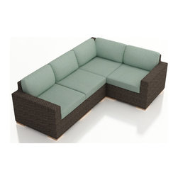 Harmonia Living - Arden 4 Piece Modern Patio Sectional Set, Spa Cushions - The 4 Piece Arden Sectional Set with Turquoise Sunbrella® Cushions (SKU HL-ARD-4SEC-CH-SP) exudes a modern, relaxing style to any outdoor space, turning it into a center ready for entertaining and enjoying of the sun outdoors. Each seat is accompanied with comfortable, fast-drying cushions covered in Sunbrella fabric, known in the industry for the best mildew and fade resistant outdoor fabrics. Each strand of wicker is infused with a warm Chestnut, textured finish made from High-Density Polyethylene (HDPE) with UV protection, ensuring long-lasting color despite anything the outdoors has in store for it. Each set piece also features a thick-gauged aluminum frame that is corrosion resistant, giving this set fantastic structural integrity. Complete with sturdy teak wood feet that are outfitted with plastic glides to allow you to endlessly rearrange the set without scuffing your patio or deck.