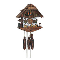 Schneider Cuckoo Clocks - 8-Day Black Forest Cuckoo Clock in Antique Finish - Chalet style. 8-day rack strike movement. Wooden cuckoo, dial with roman numerals and hands. Very detailed crafted solid wooden case with many details and frame work. Roof with hand laid shingles. On full hour hand crafted and painted wooden dancing couples. Water wheel, beer drinkers move to music and two melodies. Eight day movement with full automatic night shut off, wooden hands, big cuckoo. Wooden cuckoo calls and strikes every half and full hour. Made from wood. Made in Germany. 14.2 in. W x 9.8 in. D x 15.7 in. H (21.6 lbs.). Care Instructions