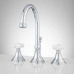 Melanie Widespread Gooseneck Bathroom Faucet - Small Porcelain Cross Handles - The contemporary style of the Melanie gooseneck spout is complemented by classic small porcelain handles. Solid brass construction and premium finish ensure this bathroom widespread faucet will be a lasting piece in your home.