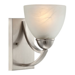 "Possini Euro Design - Possini Milbury Marbleized Glass 9"" High Wall Sconce - A beautiful cup shade in exquisite white marbleized glass creates a soft glow in this exceptional wall sconce. Curved metal arms in satin nickel finish draw back to rectangular wall plate in a smooth fluid movement. A beautiful wall accent from Possini Euro Design. Satin nickel finish. White marbleized glass. Takes one 100 watt bulb (not included). 9"" high. 6"" wide. Extends 8"" from wall.  Satin nickel finish.   White marbleized glass.   Takes one 100 watt bulb (not included).   9"" high.   6"" wide.   Extends 8"" from wall.   Back plate 5"" wide and 7 1/4"" high."