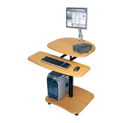 "Luxor - Luxor Mobile Computer Workstation - LAMC2936 - Luxor LAMC's adjustable height mobile single person computer desk are made from heavy-duty teak wood laminate. 31 1/2""W x 29""D and adjust in height from 29-36"". 2"" furniture casters. Keyboard shelf measures 27""W x 12""D"