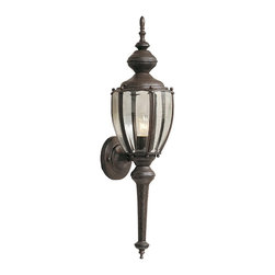 Designers Fountain - Designers Fountain Beveled Glass Lantern Transitional Outdoor Wall Sconce - This beautiful outdoor wall sconce by Designers Fountain will adapt to your traditional or contemporary taste in lighting! This six sided lantern house clear beveled glass panels, elegantly rounded making for a smooth contour. The dramatic length of the Rust Patina fixture makes quite a statement.