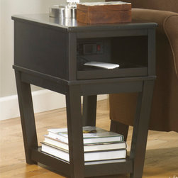 "Signature Design by Ashley - Signature Design by Ashley Almost Black Chairside End Table 26.5""W x 17.63""D x 1 - Almost Black Chairside End Table 26.5""W x 17.63""D x 13.75""H T107-371"