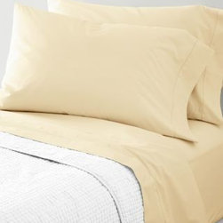 Garnet Hill - Garnet Hill Hemstitched Supima Percale Sheets - California King - Fitted - Ivory - Heirloom-inspired in every way and woven of pure Supima cotton combed to remove all but the finest long-staple fibers, this 300 thread count cotton bedding possesses the soft yet crisp hand craved by enthusiasts of classic percale. The flat sheet, cases and bedskirt are embellished with timeless hemstitch details. The fitted sheet is fully elasticized for a better fit (deep-pocket Queen, King and California King sizes will fit mattresses up to 15 inches deep).