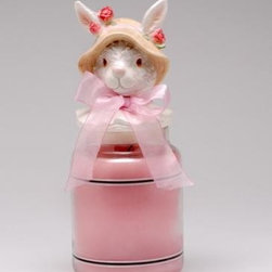 ATD - 5 Inch Jar Topper with Bunny with Floral Hat and Ribbon Design - This gorgeous 5 Inch Jar Topper with Bunny with Floral Hat and Ribbon Design has the finest details and highest quality you will find anywhere! 5 Inch Jar Topper with Bunny with Floral Hat and Ribbon Design is truly remarkable.