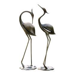 """SPI - Stylized Garden Heron Pair - -Size: 32"""" H x 29.5"""" H x 10.5"""" W"""