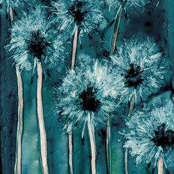 """Brazen Design Studio - Watercolor Painting - Dandelion Wishes Floral Art Print 11x14 - """"Dandelion Wishes"""" is a giclee reproduction of an original watercolour painting on Yupo by professional artist Brazen Edwards, using Epson Ultrachrome professional archival ink printed on Somerset Velvet, which has the look and feel of watercolour paper."""