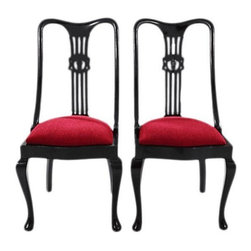"""Red & Black Carved Dining Chairs - A Pair - Pair of dining chairs refinished and reupholstered by Mission Avenue Studio in Ruby Red. Back features carved detailing. Refinished in Benjamin Moore black paint. A traditional update done right!Seat measures 20"""" high."""