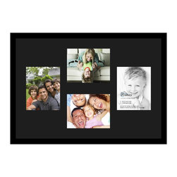 ArtToFrames - ArtToFrames Collage Photo Frame  with 4 - 8x10 Openings and Satin Black Frame - Your one-of-a-kind photos deserve one-of-a-kind frames, but visiting a custom frame shop can be time consuming and expensive. ArtToFrames extensive and growing line of inexpensive multi opening Photo Mats will get you the look you want at a price you can afford. Our Photo Mats come in a variety of sizes and colors and can be custom made to your needs. Frame choices range from traditional to contemporary, with both single and multiple photo opening mat options. With our large selection of custom frame and mat choices, the design possibilities are limitless. When you're done, you'll have a unique custom framed photo that will look like you spent a fortune at a frame shop. Your frame will be delivered directly to your front door or sent as a gift straight to your recipient.