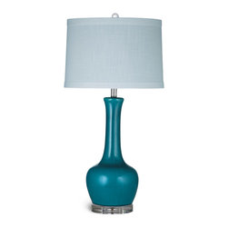 Bassett Mirror - Bassett Mirror Kileen Table Lamp - Make a vibrant statement with the stylishly curved Kileen Table Lamp. Its features include turquoise ceramic with a subtle crackle glaze finish, acrylic base, pale blue banded drum shade and crystal ball finial. The lamp pairs well with both bold and neutral color schemes. Requires 60 watts or less, bulbs not included.
