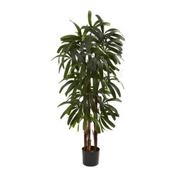 Nearly Natural - Raphis Palm Silk Tree - Includes tree pot. Several trunks. Trunk type: Natural. Makes a great gift as well. Tropical looking tree. Nearly 200 leaves spilling outward. Never needs water. Perfect addition to beach-themed room or anywhere else want a lush. Made from silk. Green color. Tree pot: 6.75 in. Dia. x 6 in. H. Overall: 29 in. W x 27 in. D x 48 in. HYou have a beautiful, year-round decoration.