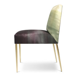 """Recovered Interior Collection - Perfect for use as an accent chair, dining chair or desk chair. Upholstered in our Recovered Ombre fabric designed exclusively for the Recovered Interior Collection. Offering four striking color combinations in Fuchsia, Blue, Gray or Green. The vivid pattern of the fabric complements the glamour of the polished brass legs. Also available in our Italian velvet and recycled leather combinations. Please note, the recycled leather will be upholstered on the seat, while the Italian velvet will be on the chair's inside and outside back. The Alloy Chair will breath life into your space. DIMENSIONS: 18"""" x 24"""" x 35"""" H, seat height of 19"""""""