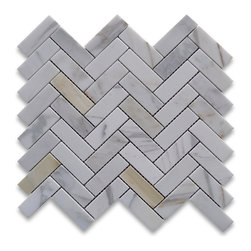 Stone Center Corp - Calacatta Gold Herringbone Mosaic Tile 1 x 3 Polished Calcutta Marble - Premium Grade 1x3 Herringbone Calacatta Gold Marble Mosaic tiles. Italian Calacatta Oro Calcutta Gold Polished 1 x 3 Big Herringbone Mosaic Wall & Floor Tiles are perfect for any interior/exterior projects. The Calcutta Gold Calacatta Marble 1x3 Herringbone Mosaic tiles can be used for a kitchen backsplash, bathroom flooring, shower surround, countertop, dining room, entryway, corridor, balcony, spa, pool, fountain, etc.  Please note that natural stone does vary in pattern and color, so each piece will be unique, which is part of what makes natural stone such a beautiful and interesting material. The picture is representative of one piece of marble and your 1x3 Herringbone Mosaic tiles with a product may look different.