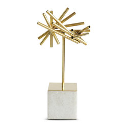 Kathy Kuo Home - Randi Golden Rod Modern Burst Sculpture on Stone Base - A modern, tubular metallic sculpture rises above a natural-edged block of white, solid stone. Evoking visions of a flowering, potted plant, the hand-crafted gold tubes form an abstract circular design, perched atop a long, thin stem. The beautiful base is topped by the same gold, with rough, textured stone sides for a modern yet organic presence.