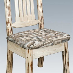 Montana Woodworks - Handcrafted Dining Chair - Upholstered seat in the wildlife pattern. Skip peeled by hand using old fashioned draw knives. Heirloom quality. Solid lodge pole pine. Contoured and comfortable seat. Slat style back increases comfort. Made from U.S. solid grown wood. Lacquered finish. Made in U.S.A.. No assembly required. Seat height: 18 in.. Overall: 19 in. W x 18 in. D x 38 in. H (20 lbs.). Warranty. Use and Care InstructionsThis wonderful dining chair is as comfortable as it is unique. This chair incorporates the tried and true mortise and tenon joinery system that has served as a symbol of durability for millennia. Each piece signed by the artisan who makes it.