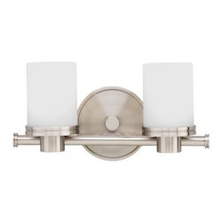 Hudson Valley - 2 Light Bath BracketSouthport Collection - Cylinders of matte opal glass rise from circular socket holders to give Southport a well-proportioned look that is sleek and strong. Cast beading on the round backplate and the shade base create a streamline motif, drawn from a celebrated era of 20th cen