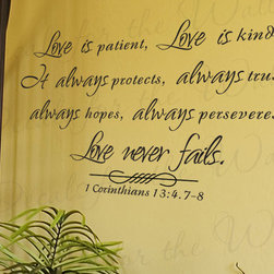 Decals for the Wall - Wall Decal Sticker Quote Vinyl Large Love is Patient Kind Corinthians Bible R6 - This decal says ''Love is patient, love is kind. It always protects, always trusts, always hopes, always perseveres. Love never fail. 1 Corinthians 13:4.7-8''