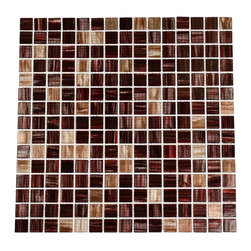 """Pomegranite Blend Glass Tile - Pomegranite Blend 3/4"""" x 3/4"""" Glass Tile This striking blend of shades of red, purple, and cream in this stained finished tile will give any room a dramatic statement. The glass pieces are mounted to a mesh backing making installation simple. The color is painted on the back of the glass tile and you don't have to worry about scratching or chipping the colors off. Chip Size: 3/4"""" x 3/4"""" Color: Shades of Red, Purple, and Cream Material: Glass Finish: Stained Sold by the Sheet - each sheet measures 13"""" x 13"""" (1.17 sq. ft.) Thickness: 5mm Please note each lot will vary from the next."""