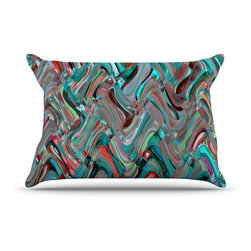 """Kess InHouse - Suzanne Carter """"Abstract Wave"""" Teal Abstract Pillow Case, King (36"""" x 20"""") - This pillowcase, is just as bunny soft as the Kess InHouse duvet. It's made of microfiber velvety fleece. This machine washable fleece pillow case is the perfect accent to any duvet. Be your Bed's Curator."""