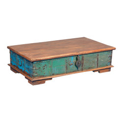 Sierra Living Concepts - Emerald Treasure Reclaimed Wood Coffee Table Storage Chest - Expand your storage space and maximize your decorating dollars with the Emerald Treasure Chest. This multi-use storage box is a colorful coffee table or window bench. The handmade trunk is built with reclaimed wood from Gujarat, so it's eco-friendly. The lid attaches to the back and is held in place with three interior hinges and two interior chains. It stands off the floor on short feet.