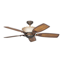 Kichler 4-Light Ceiling Fan - Oiled Bronze Fans - Four Light Ceiling Fan with an oiled bronze finish and ribbed glass, this fan is a wonderful addition to the Kichler golden iridescence collection. The 5, 52 blades are pitched 14 degrees and are reversible for your choice of a teak or teak with distressed insert finish. The 172mm x 20mm motor will provide the quiet power you need. with full range dimming and intelligent return, the integrated uplight uses 4 15-watt b-10 bulbs. This fan comes complete with the full function cooltouch control system with independent up and down light control and 6 and 12 downrods. Check out the 380002olz and 380003olz to see the optional downlight fixtures.