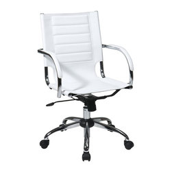 Ave Six - Trinidad Office Comfortable Chair - Attractive and functional office chair. Adjustable height and tilt for ergonomic support. PVC covered arms for comfort. PVC seat and back. Made from PVC and chrome. One year warranty. Assembly required. Seat width: 18.25 in.. Seat depth: 16 in.. Seat height: 17.5 in. - 22.25 in.. Back: 18.25 in. W x 19.25 in. D. 21.75 in. W x 22.75 in. D x 36 in. - 40.75 in. H (58 lbs.)