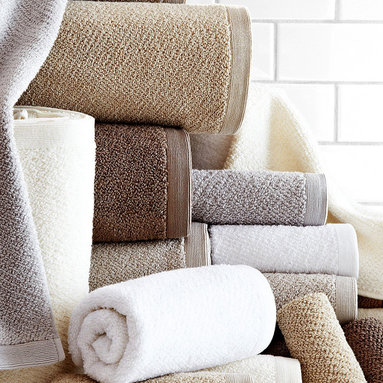 Jubilee Bath Mat - Linen - Long-staple cotton fibers were selected to enhance the silken hand of the plush, textured Jubilee Bath Mat. Made with an all-over granite weave for superior comfort under your feet, then bordered in a narrow band of texture for a polished finish, this traditionally stylish all-cotton bath mat asserts its top-quality fiber and weave without being distractingly unconventional.