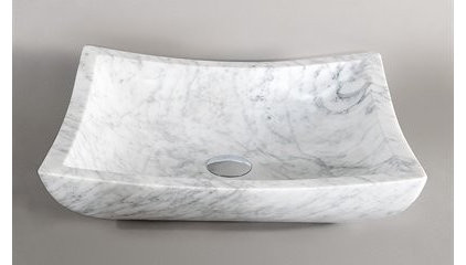 Wyndham Collection WC-GS003 Avalon White Carrera Marble Sink - Fixture Universe