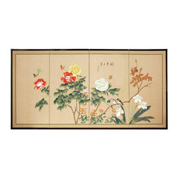 """Oriental Furniture - Butterflies in the Garden - 36"""" - The Butterflies in the Garden is an extraordinary painting, with large colorful blooms beneath fluttering butterflies. Note that no two renderings are exactly the same. Subtle, beautiful hand painted wall art."""