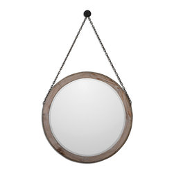 "Uttermost - Loughlin Round Wood Mirror - Lightly Stained Wood Frame Surrounded By A Metal Band Finished In Rustic Bronze With A Matching Chain. A Decorative Hanging Hook For Chain Only Is Included. Mirror Features A Generous 1 1/4"" Bevel."